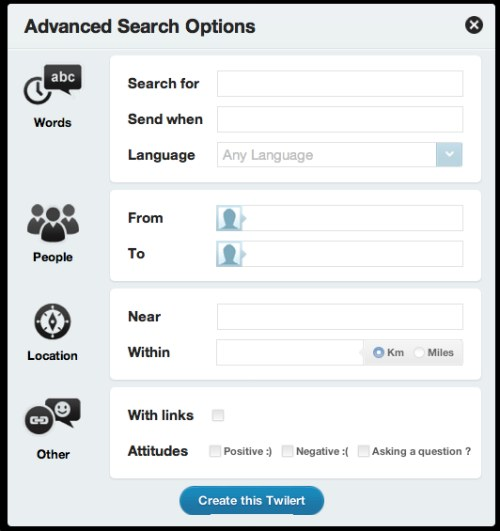 Twilert Advanced Search